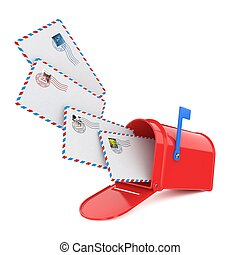 Mailbox with Letters. - Red Mailbox with Letters Flying or...
