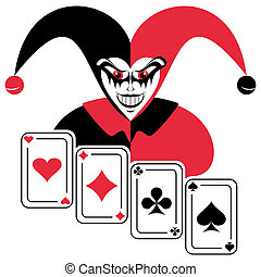 Joker and four playing cards Abstract composition on a white...