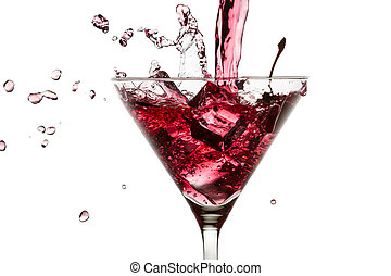 Red drink poured with a splash of ice cube on white background