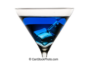 Martini glass with ice and blue liqueur