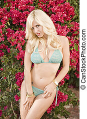 Blonde wearing a Bikini in front of Red Flowers - Beautiful...