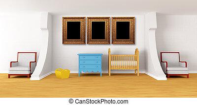 bebê, quarto, Berço