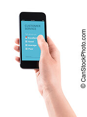 Customer service feedback on mobile - Female hand holding...