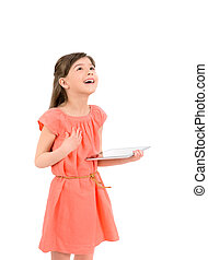 Inspiration with digital tablet - Inspired happy young girl...