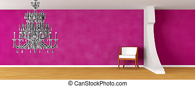 Purple gallery's hall with luxurious chair