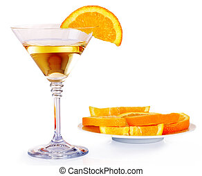 Group glass with alcohol drink martini.