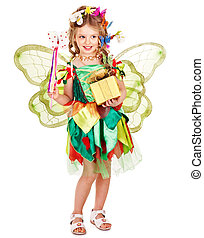 Child with flower and butterfly - Little girl with wings...
