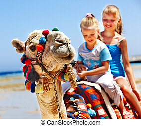 Tourists riding camel on the beach of Egypt - Tourists...