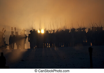 Warrior silhouettes, Battle of Austerlitz, Tvarozna, Czech...