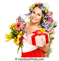 Woman with gift box and flower bouquet Isolated