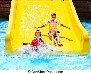 niños, agua, diapositiva, Aquapark