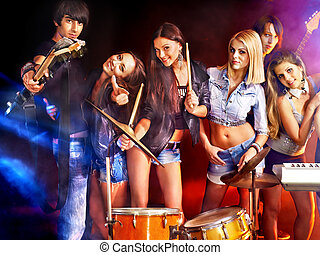 Band playing musical instrument - Musical group performance...