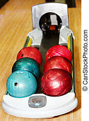 Group of red bowling ball. Still life.