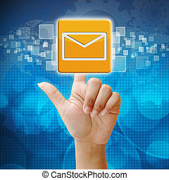 In press email icon on touch screen interface