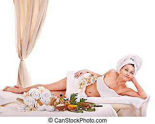 Woman getting spa treatment outdoor - Young woman getting...
