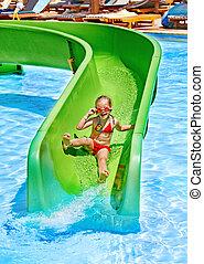 niño, agua, diapositiva, Aquapark