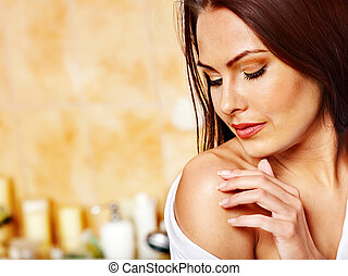 Woman relaxing at home bath - Woman relaxing at home luxury...