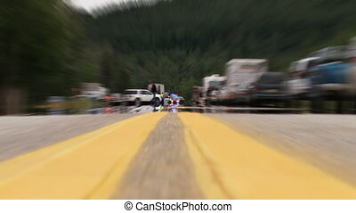 Accident Scene Fatality Zoom - Extreme low angle shot...