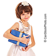 Child with gold gift box on birthday.