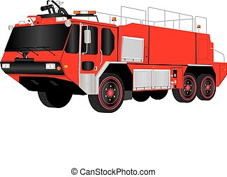 Airport Fire Truck - A Red Airport Fire Truck isolated on...
