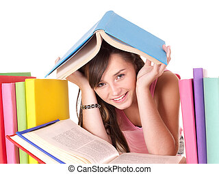 Girl with pile colored book.