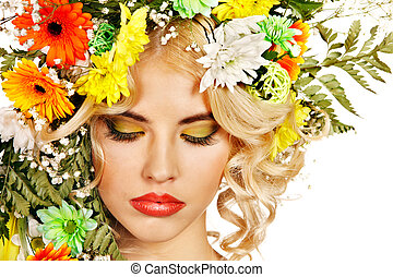Woman with make up and flower. - Woman with hairstyle and...
