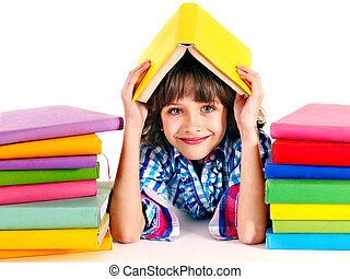 Child with stack of books Isolated