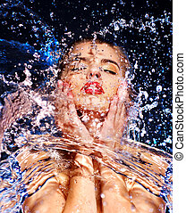 Wet woman face with water drop. Moisturizing.