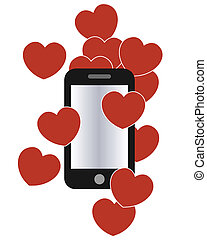cell phone with love hearts