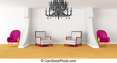 Modern room with luxurious armchairs and black chandelier