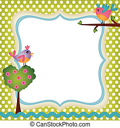 Floral frame with a birds - Scalable vectorial image...