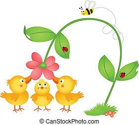 Little chicks admiring a flower - Scalable vectorial image...