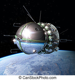 The first spaceship at the orbit - Spaceship Vostok1 at the...