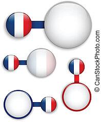 ベクトル, -, フランス, 国, セット, 旗