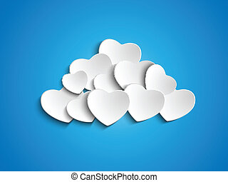 Valentine Day Heart Clouds in the Sky - Vector - Valentine...