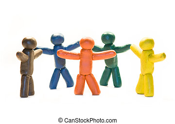 Clay friendship - Clay people holding hands of each other
