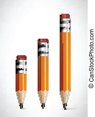 Lead pencils various length on white background. Vector...
