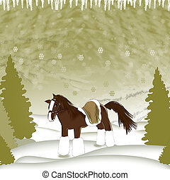 Horse in winter forest - Illustration of a horse in the...