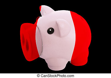 piggy rich bank in colorsnational flag of perufor saving...