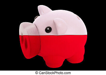 piggy rich bank in colorsnational flag of polandfor saving money on black background