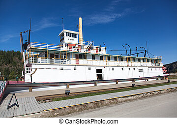 Keno Steamboat - Steamboat docks on the banks of the Yukon...