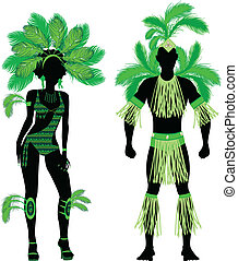 Carnival Silhouette Couple Green - Vector Illustration...