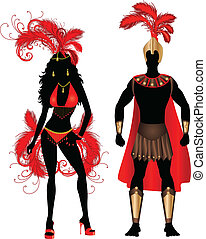 Carnival Silhouette Couple Red - Vector Illustration Couple...