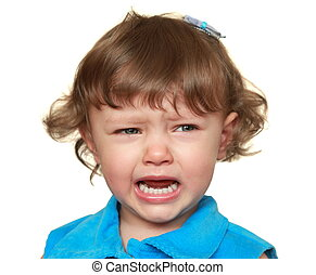 Crying child looking sad and unhappy isolated on white...