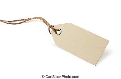 Blank price or address tag with natural ribbon twine,...
