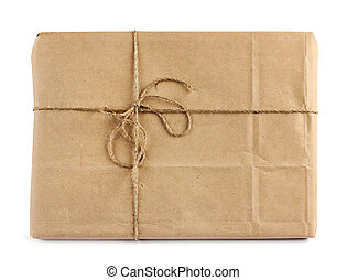 Brown mail delivery package - Brown mail package parcel wrap...