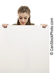 Business woman holding white billboard - Portrait of...