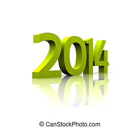 3D illustration - 2014 - 3D illustration - The new year 2014...