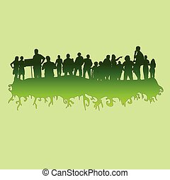 people at green vector silhouette illustration