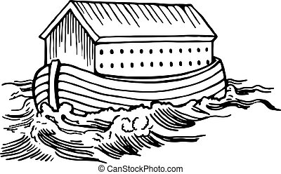 Noah's Ark - Simple black and white line drawing of Noah's...